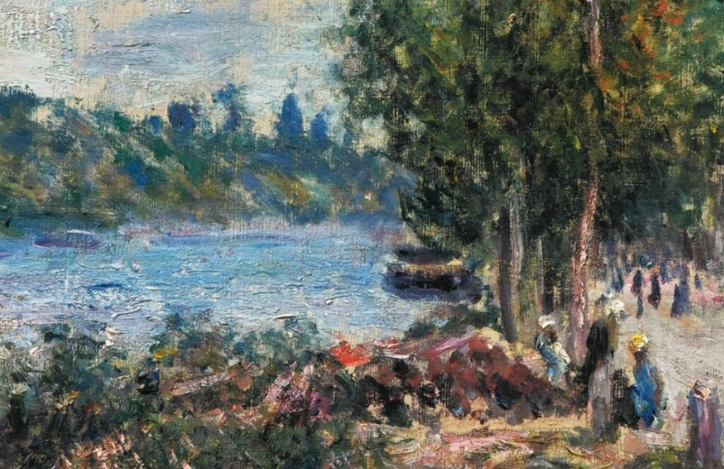 Alfred Sisley, 7IE-1882-179, Saint-Mammès. Maybe(??): 1879-80, Road along the Seine at Saint-Mammès (detail), 46x38, private