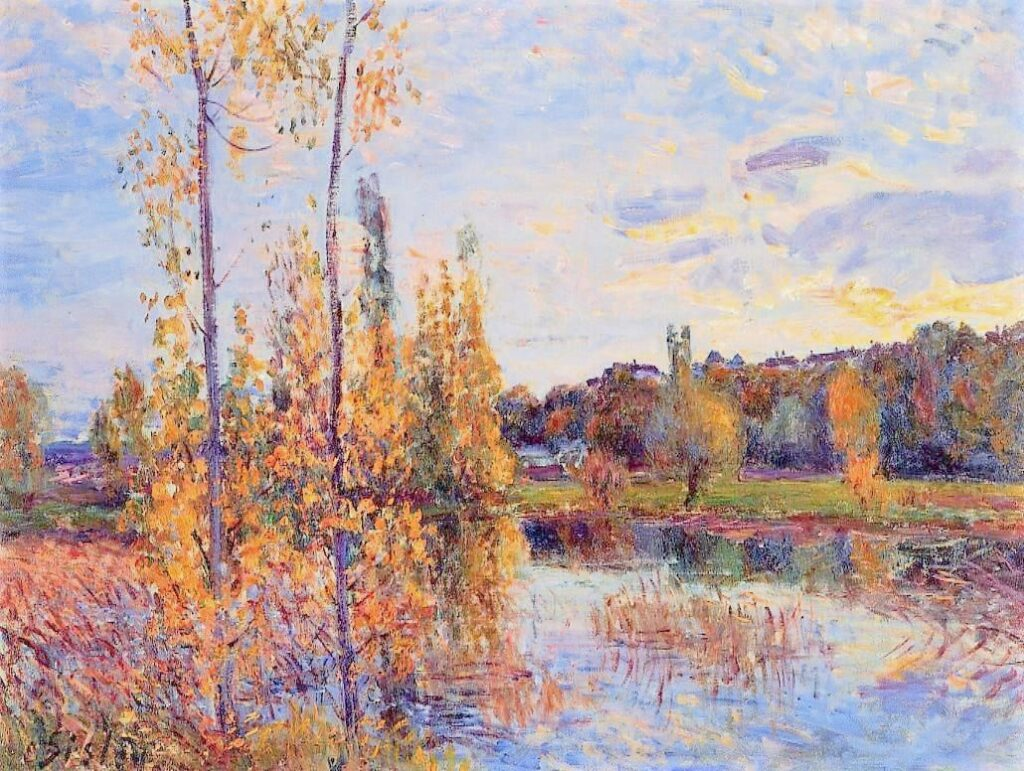 Alfred Sisley, 7IE-1882-187, Le chemin de l'étang. Compare: 1888ca, CR668, Pond at Chevreuil, 54x65, private,