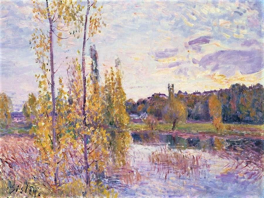 Alfred Sisley, 7IE-1882-187, Le chemin de l'étang. Compare: 1888ca, CR668, Pond at Chevreuil, 54x65, private