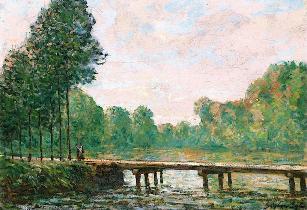 Alfred Sisley, 7IE-1882-188, Le chemin de l'étang. Maybe(??): 1880, CR375, Small Bridge over the Orvanne, March morning, 38x54, private