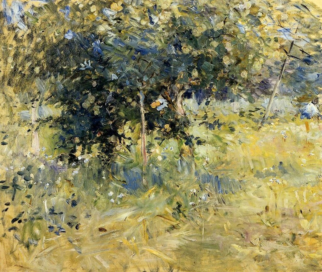 Berthe Morisot, 1884, CR149, Willows in the Garden Robin at Bougival, 48x55, private