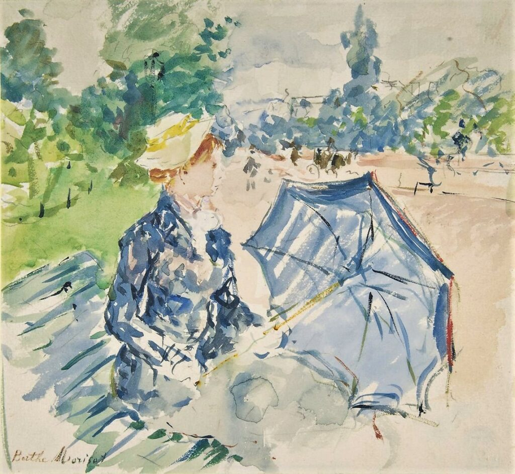Berthe Morisot, 1885, CR711, A woman seated at a bench on the avenue du Bois, wc, 20x28, Metropolitan