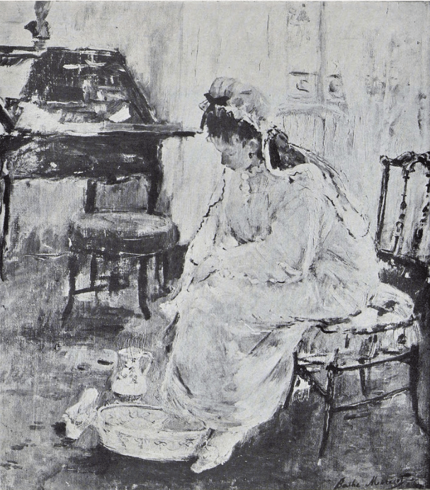 Berthe Morisot, 2IE-1876-167, Le Lever =1877, CR73, 18xx, Femme à sa toilette, 46x38, xx