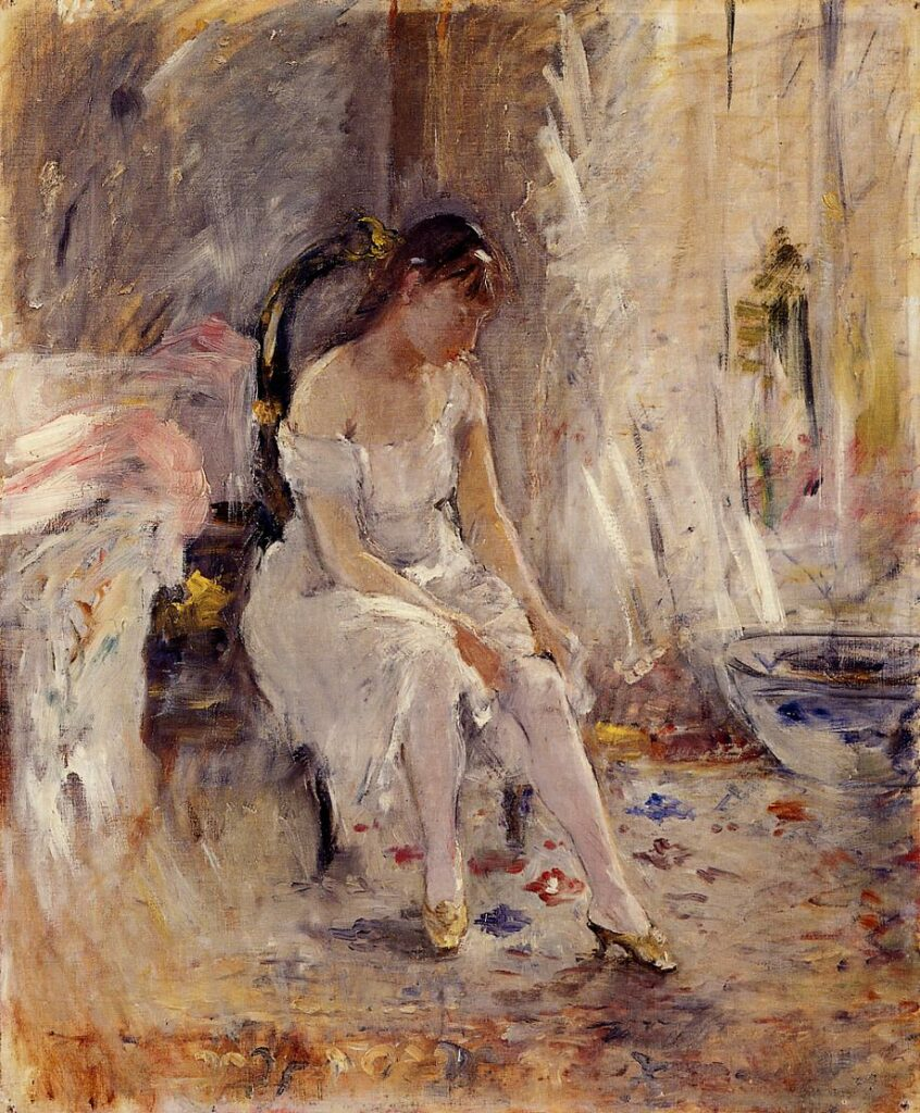 Berthe Morisot, 2IE-1876-167, Le Lever cp1880, CR97, Girl fastening her stockings (Jeune fille mettant son bas), 55x46, private