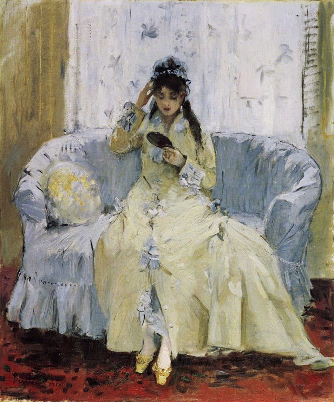 Berthe Morisot, 2IE-1876-168, La toilette =1876, CR61, Young woman with a mirror, 54x45, private