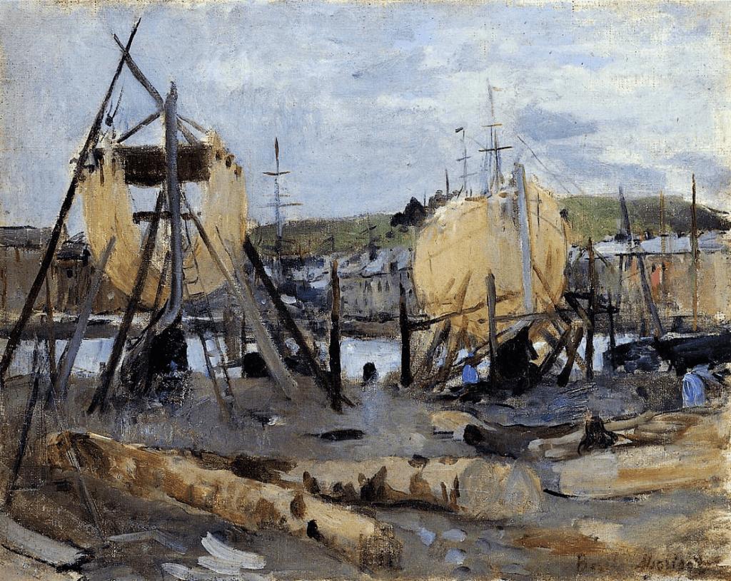 Berthe Morisot, 2IE-1876-174, Un Chantier =1874, CR39, Boats under Construction, 33x41, Marmottan