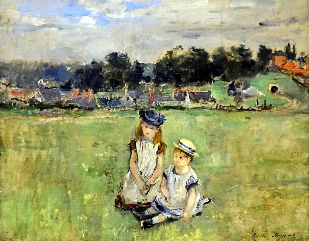 Berthe Morisot, 2IE-1876-176, Vue d'Angleterre Maybe(?): 1875, CR48, Vue d'Angleterre (enfants dans l'herbe en Angleterre), 41x51, xx