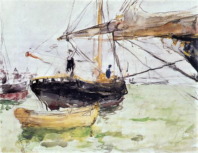 Berthe Morisot, 2IE-1876-179, Avant d'un Yacht, aquarelle =1875, CR630, Before a Yacht, wc, 21x27, CAI Williamstown