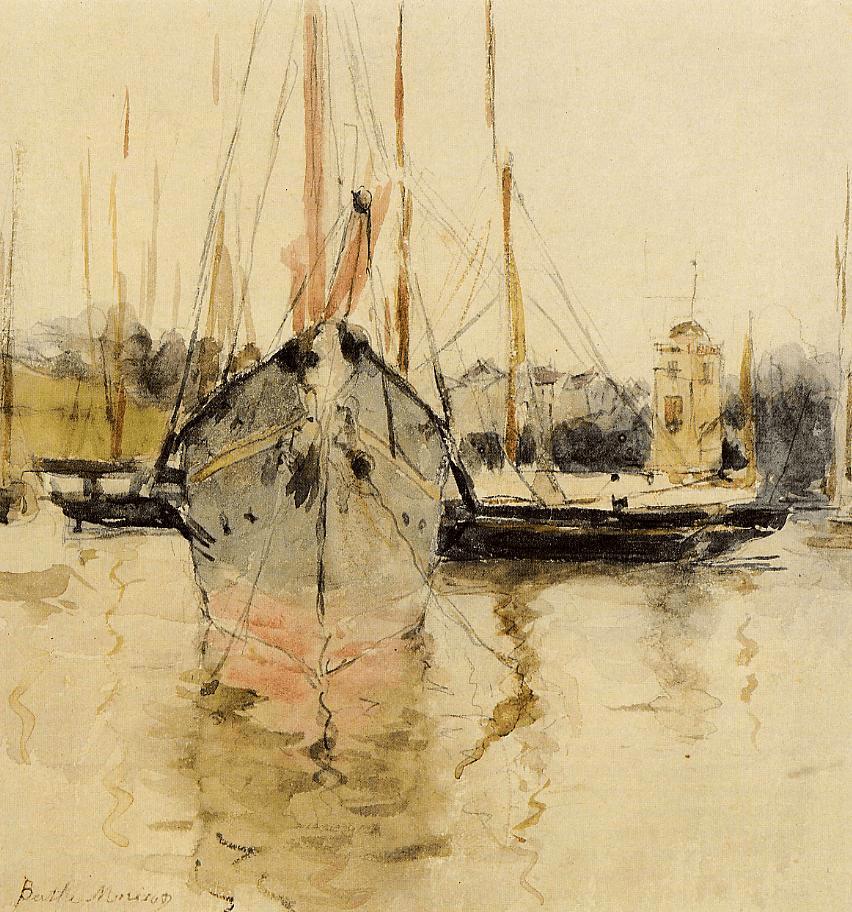Berthe Morisot, 2IE-1876-180, Entrée de la Midina, Île de Wight (aquarelle) =1875, CR632, Boats, Entry to the Medina in the Isle of Wight, 19x18, wc, FAM Cambridge