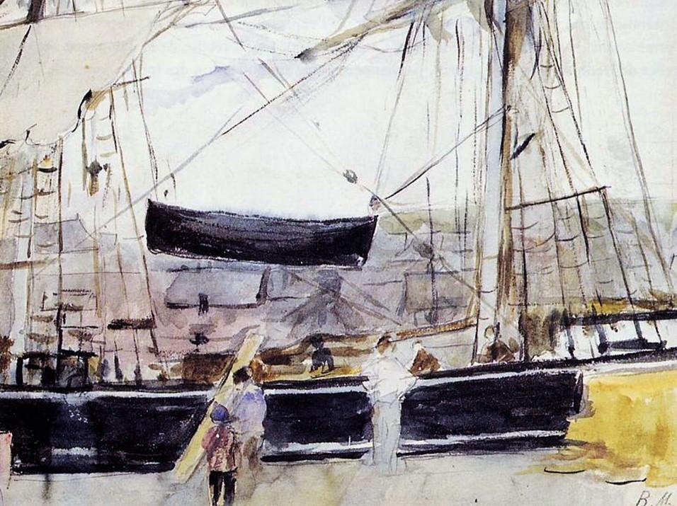 Berthe Morisot, 2IE-1876-181, Vue de la Tamise (aquarelle) =1875, CR631, Boat at a Dock, wc, 17x23, Marmottan