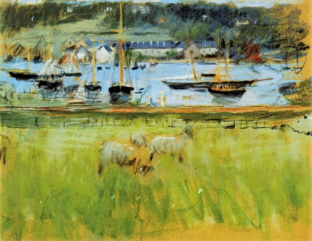 Berthe Morisot, 2IE-1876-182, Trois dessins au pastel. Maybe(???): 1874, CR430, Harbor in the Port of Fécamp, pastel, 30x36, Axx