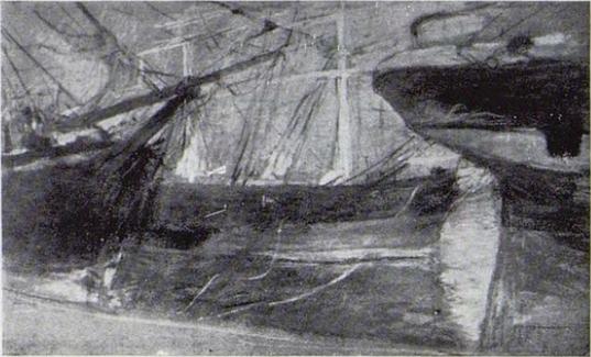 Berthe Morisot, 2IE-1876-182, Trois dessins au pastel. Maybe(???): 1875, CR432, Bateaux dans le port (Ships in a harbour), pastel, 31x49, xx