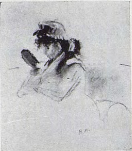 Berthe Morisot, 2IE-1876-182, Trois dessins au pastel. Maybe(??): 1876, CR433, Young woman looking in a mirror, pastel, 30x23, xx
