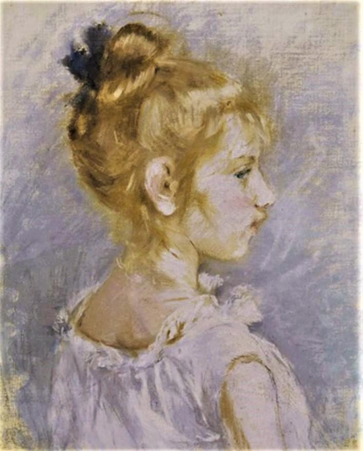 Berthe Morisot, 2IE-1876-182, Trois dessins au pastel. Compare: 1877, CR435, Portrait of Blanche Pontillon, pastel, 46x39, A2019/11/12