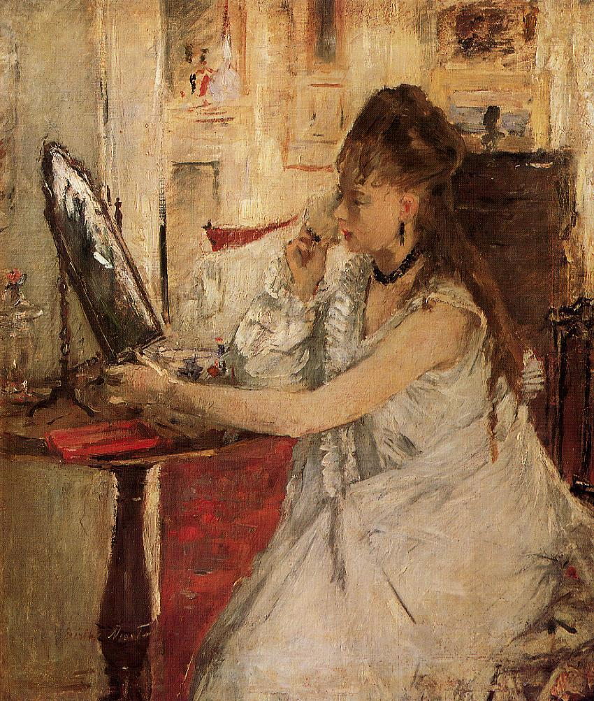 Berthe Morisot, 3IE-1877-123, Jeune femme à sa toilette. Maybe: 1877, CR72, Young Woman Powdering Her Face, 46x38, Orsay