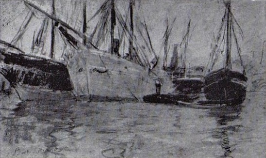 Berthe Morisot, 3IE-1877-126, Vue de la Tamise, pastel =1875, CR431, Bateaux sur La Tamise (Ships on the Thames), pastel, 31x48, xx