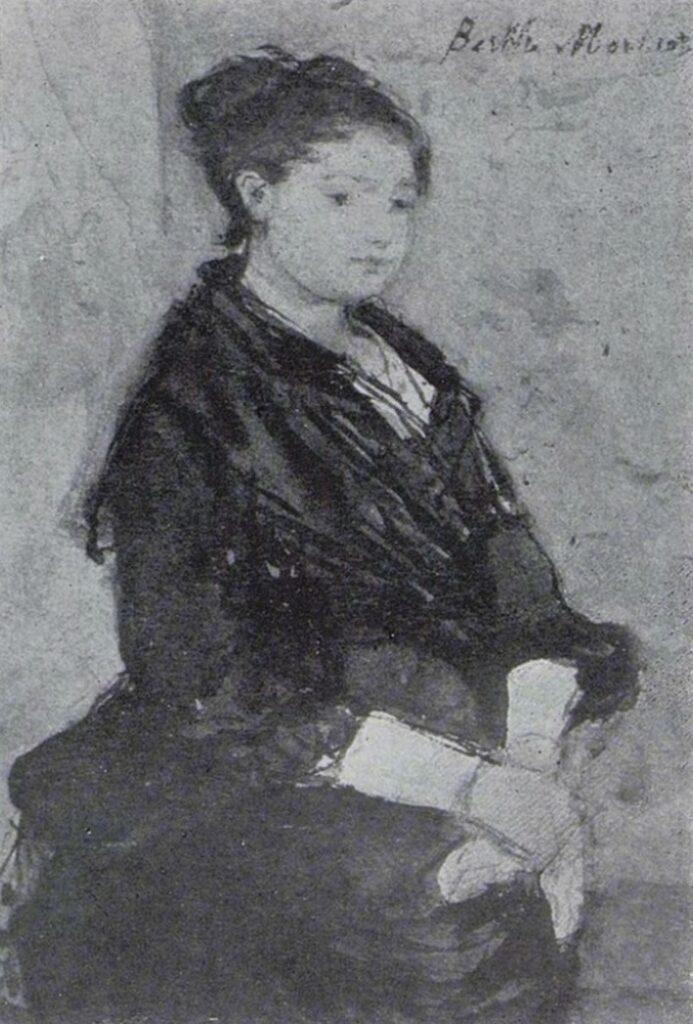 Berthe Morisot, 3IE-1877-127, Aquarelle. Maybe(?): 1876, CR636, Jeune femme en robe noir (young woman in a black dress), wc, 12x8, xx