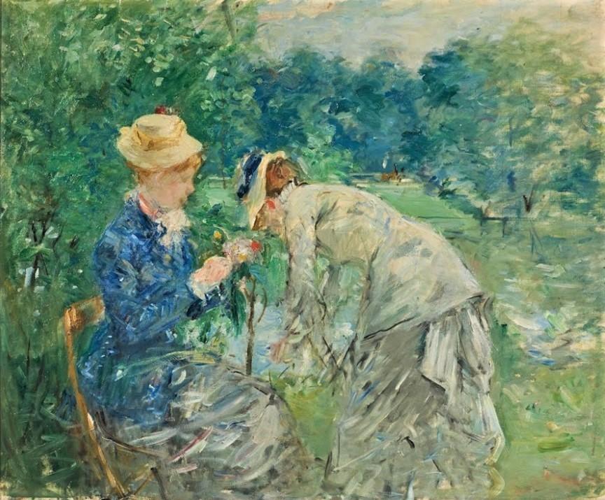 Berthe Morisot, 3IE-1877-131hc, pastel. Compare: 1879, CR80, Woman Picking Flowers (In the Bois de Boulogne), 61x75, Nm Stockholm