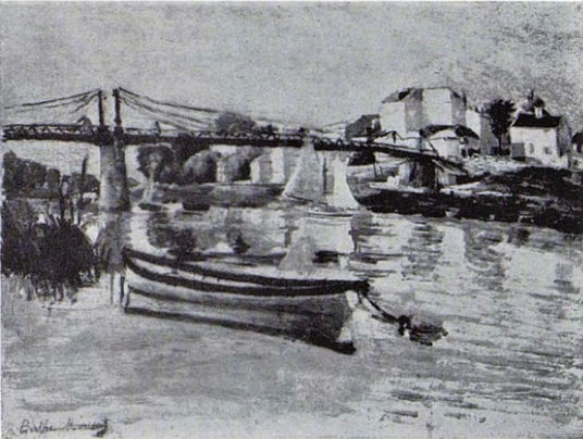 Berthe Morisot, 5IE-1880-117, Paysage. Maybe(??): 1880, CR92, Bridge on the Seine, 38x46, private