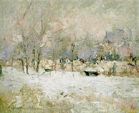 Berthe Morisot, 5IE-1880-118, L'Avenue du bois, effet de neige =1880, CR85, neige (avenue de bois or Foch), 33x41, xx