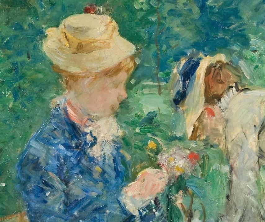Berthe Morisot, 5IE-1880-119, Au jardin =1879, CR80, Woman Picking Flowers (In the Bois de Boulogne; detail), 61x75, Nm Stockholm