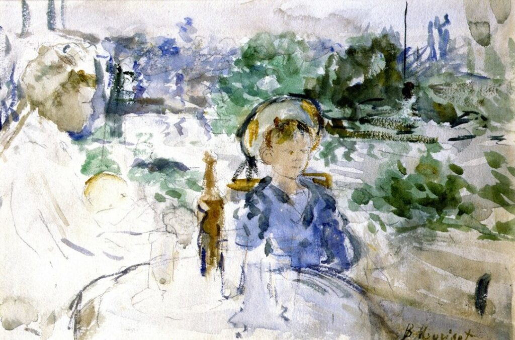 Berthe Morisot, 5IE-1880-123, Aquarelle. Maybe(??): 1879, CR642, Luncheon in the countryside (Meudon), wc, 14x22, A2015/03/25