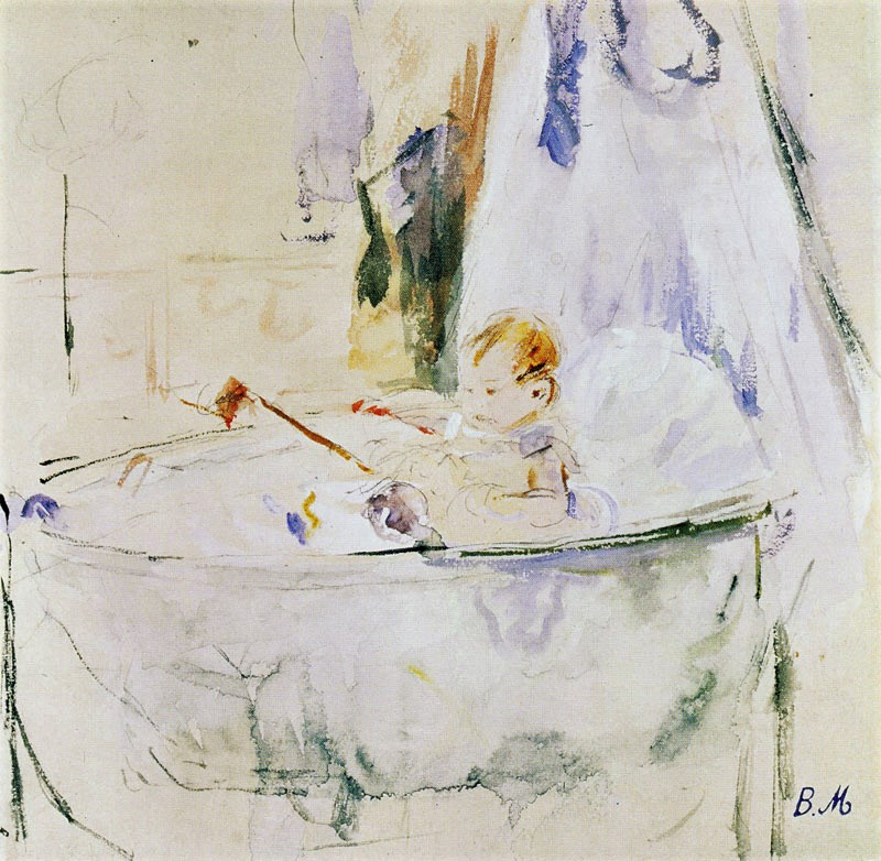 Berthe Morisot, 5IE-1880-125, Aquarelle. Maybe(??): 1879, CR644, Julie in her cradle, wc, 18x18, xx