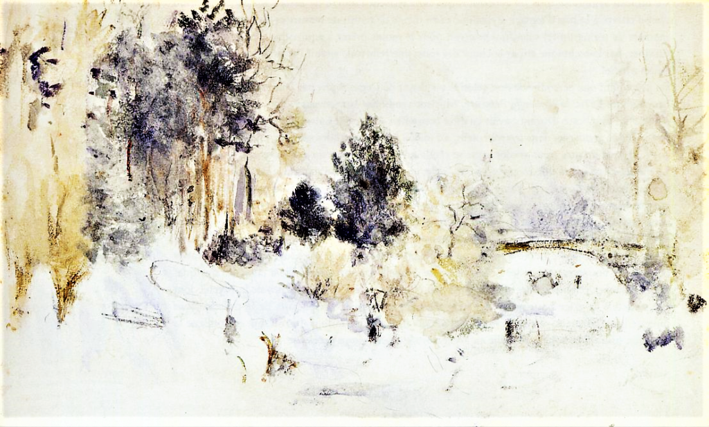 Berthe Morisot, 5IE-1880-126, Aquarelle. Maybe(??): 1880, CR645, Snowy Landscape (Frost), wc, 24x32, private