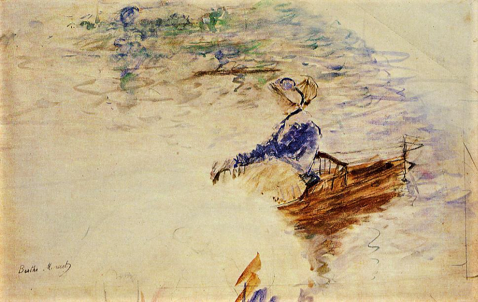 Berthe Morisot, 5IE-1880-127, Éventail. Maybe(?): 1880, CR646, Young Woman in a Rowboat, fan wc, d47, private