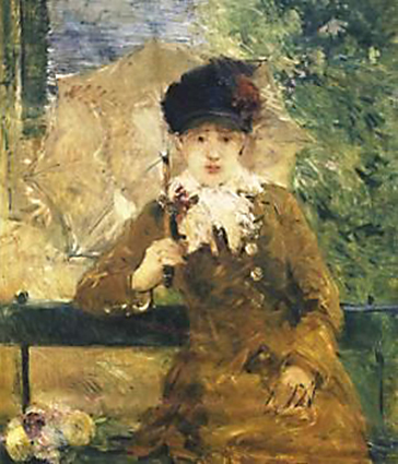 Berthe Morisot, 6IE-1881-56, Etude en plein air =1880-81ca, CR104, woman with umbrella (on a garden bench), 92x73, A1995/11/08