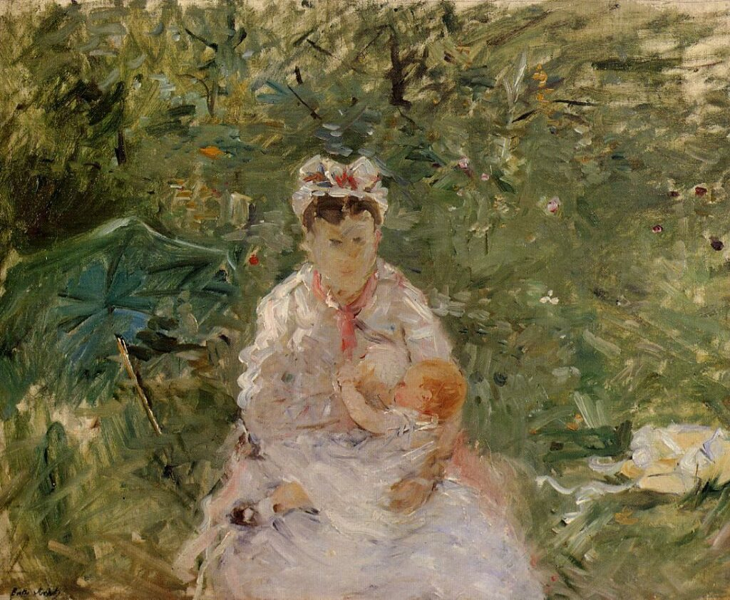 Berthe Morisot, 6IE-1881-57, Nourrice et bébé. Compare: 1880, CR94, The Wet Nurse Angele Feeding Julie Manet, 50x61, private
