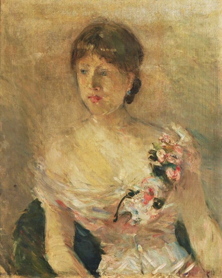 Berthe Morisot, 6IE-1881-58, Jeune femme en rose. Maybe(??): 1879, CR81cp, 1880, Portrait of a lady, 61x50, GAM Milan