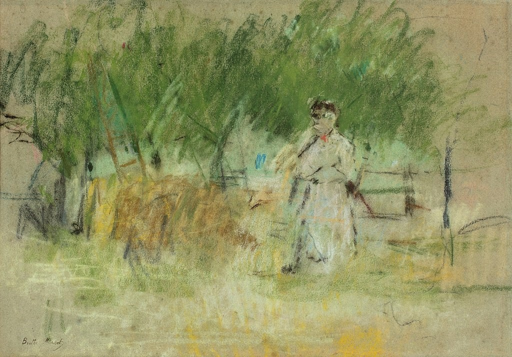 Berthe Morisot, 6IR-1881-61, Esquisse au pastel. Maybe(??): 1881, CR456, Nanny and child in the field (recto), pastel, 35x50, xx