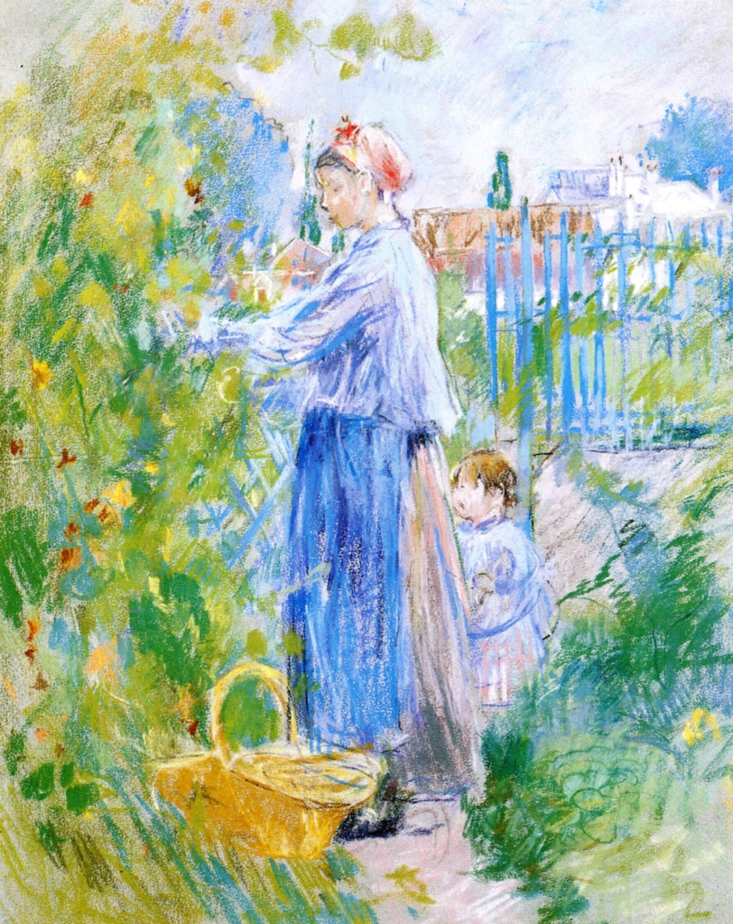 Berthe Morisot, 7IE-1882-100, Paysage au pastel. Maybe(??): 1882, CR460, Mother and Child Picking Nasturtiums, pastel, 58x46, A2016/05/10