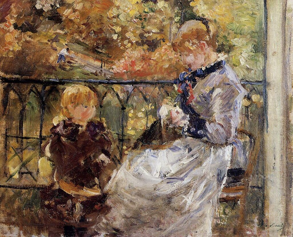 Berthe Morisot, 7IE-1882-100+hc2, Jeune femme cousant dans un jardin. Probably: 1882, CR124, On the Balcony, Bougival (Julie and Pasie), 38x46, private