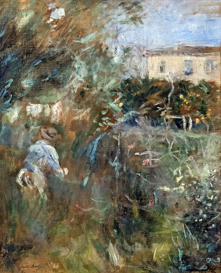 Berthe Morisot, 7IE-1882-100+hc3, Villa Arnulfi =1882, CR117, Woman in the garden (Villa Arnulphi in Nice), 55x46, Fondation Bemberg