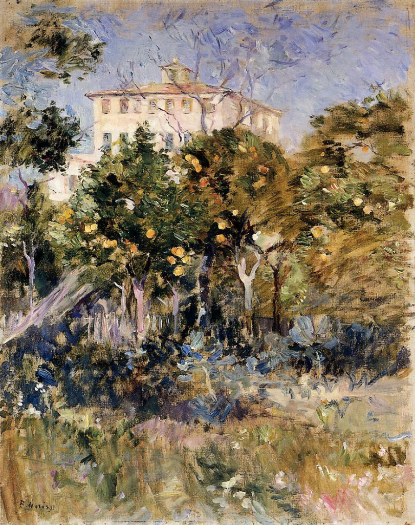 Berthe Morisot, 7IE-1882-100+hc3, Villa Arnulfi. Maybe: 1882, CR118, Villa with Orange Trees, Nice, 55x43, private