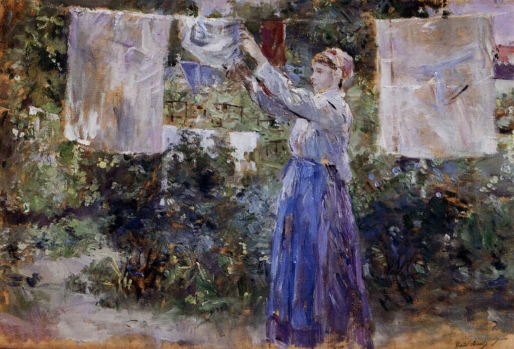 Berthe Morisot 7IE-1882-93, Blanchisseuse =1881, CR105, Woman Hanging out the Wash, 46x67, NCG Copenhagen