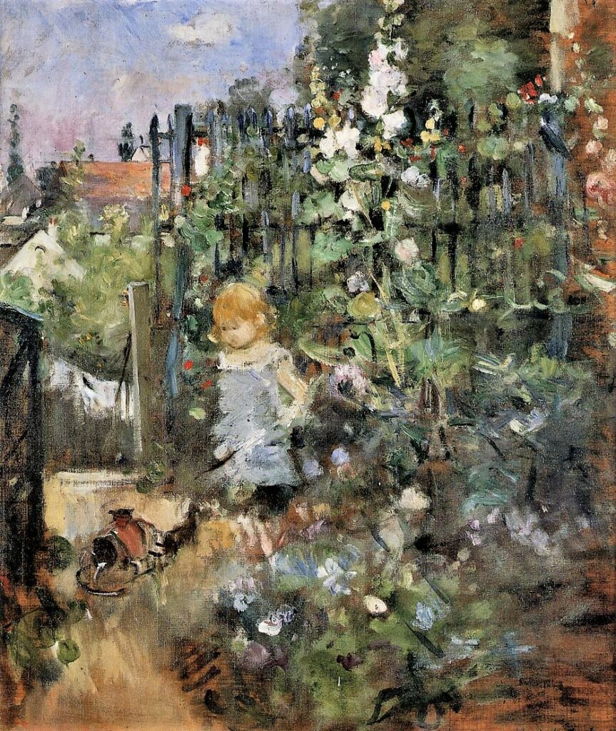 Berthe Morisot, 7IE-1882-94, Baby. Probably: 1881, CR107, Child in the Rose Garden, 50x42, WRM Cologne