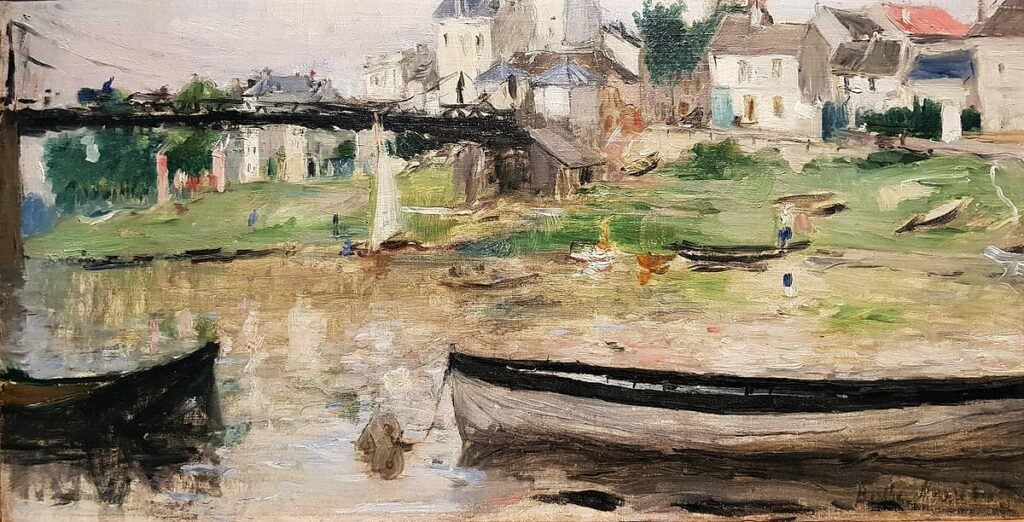 Berthe Morisot, 7IE-1882-95, Vue de Saint-Denis. Maybe(??): 1879-80, CR92cp, Boats on the Seine (Villeneuve-la-Garenne), 26x50, WRM Cologne