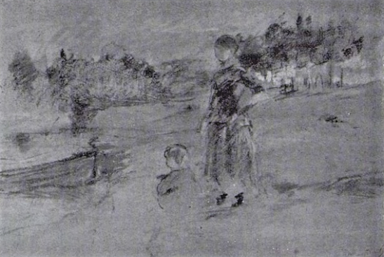 Berthe Morisot, 7IE-1882-98, Vue d'Andrésy, pastel. Maybe(??): 1881, CR455, Paysanne et enfant au bord de la Seine, pastel, 40x29, xx