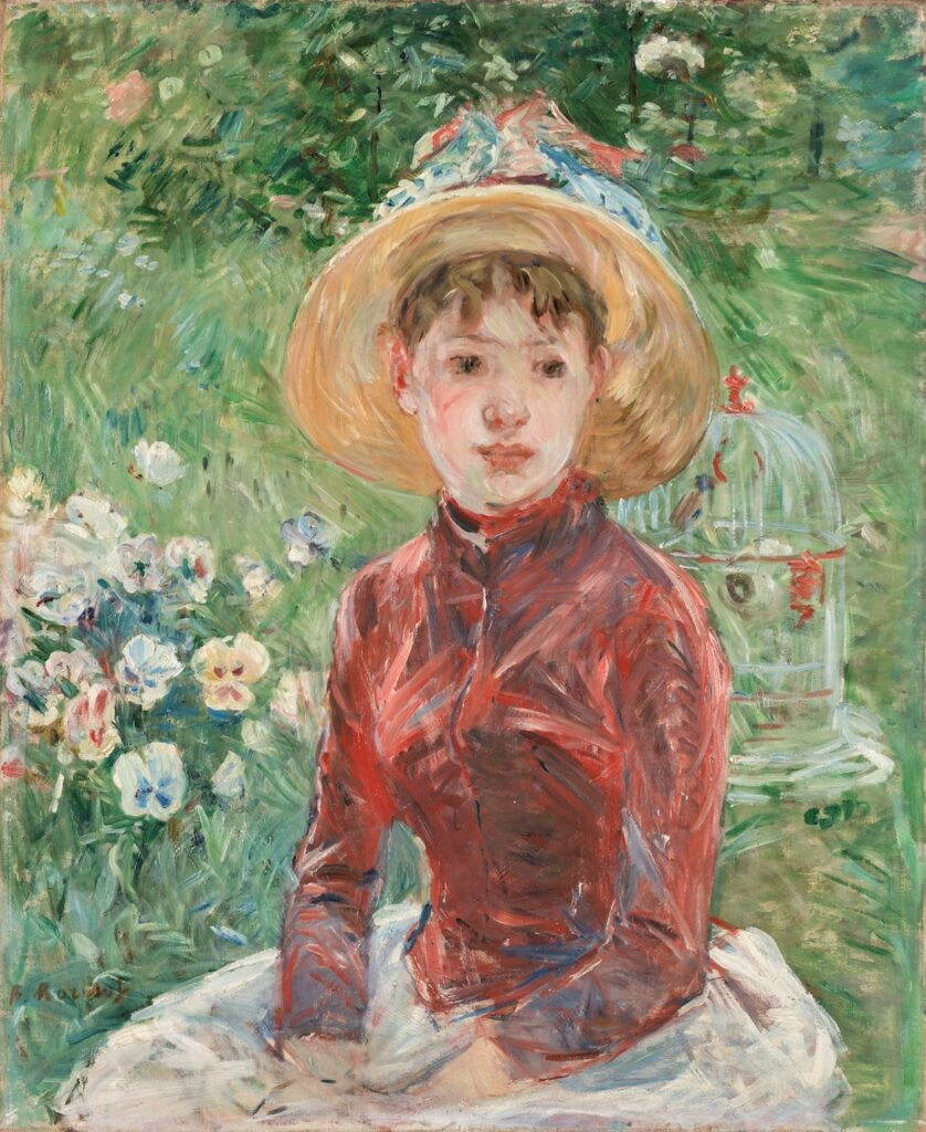 Berthe Morisot, 8IE-1886-82, Jeune fille sur l'herbe =1885, CR173, Young girl on the grass (Mlle Isabelle Lambert), 73x60, OC Copenhagen