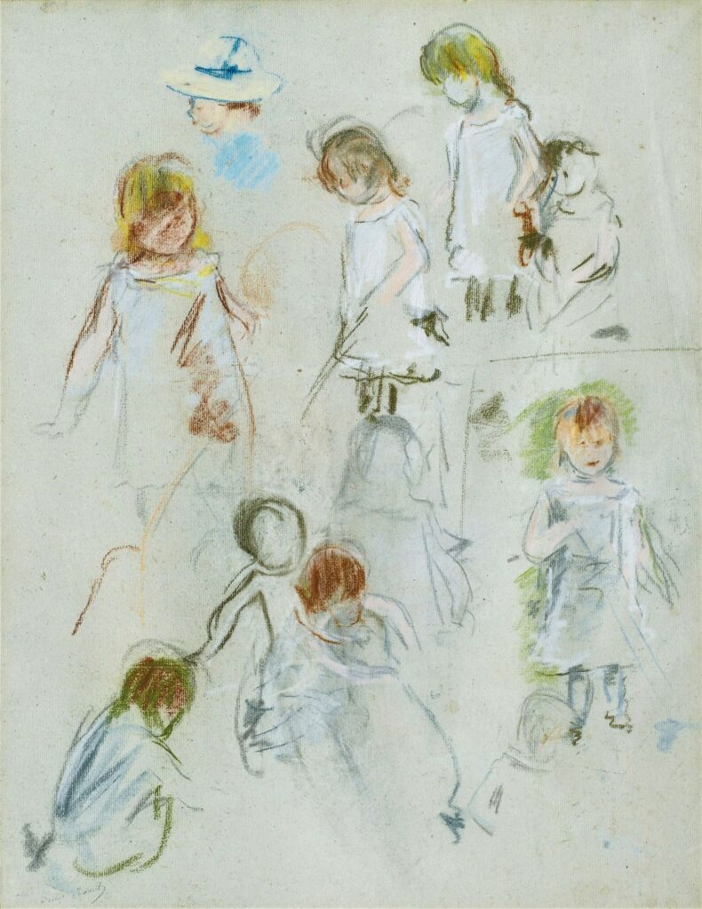 Berthe Morisot, 8IE-1886-86, Portraits d'enfants. Maybe(???): 1882, CR467, étude de fillette, (figure dans un jardin), pastel, 58x42, A2008/07/02