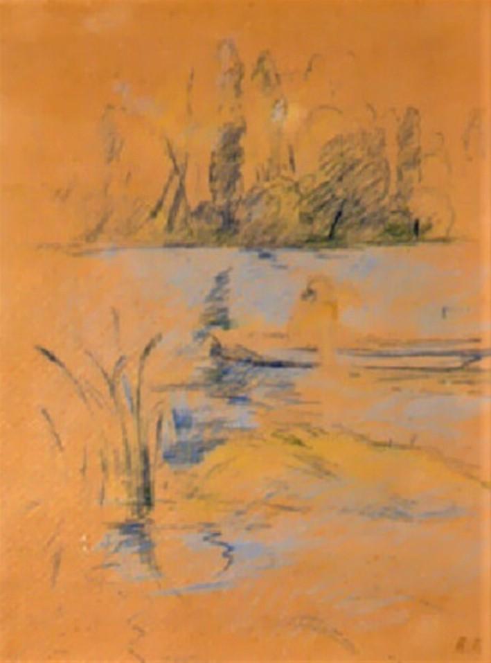 Berthe Morisot, 8IE-1886-92-1, Série de dessins. Maybe(??): 1886, Barque au Bois de Boulogne, dr, 30x22, A1998/03/24