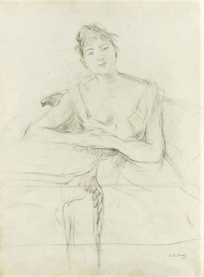 Berthe Morisot, 8IE-1886-92-3, Serie de dessins. Maybe(??): 1885ca, Portrait de Louise Riesener, dr, 62x48, A2001/02/08