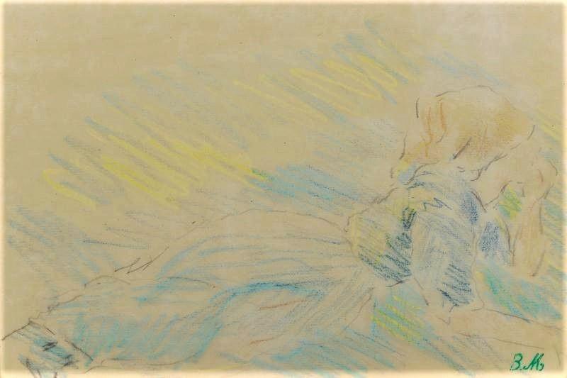 Berthe Morisot, 8IE-1886-92-6, Série de dessins. Maybe(??): 1880, Paysanne allongée, dr, 15x21, A2013/11/08