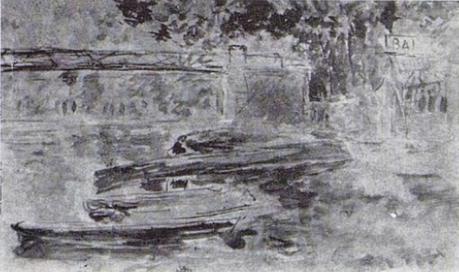 Berthe Morisot, 8IE-1886-93-1, Le Lavoir sous bois. Compare: 1882, CR669, Le pont de Bougival, wc, 13x21, xx