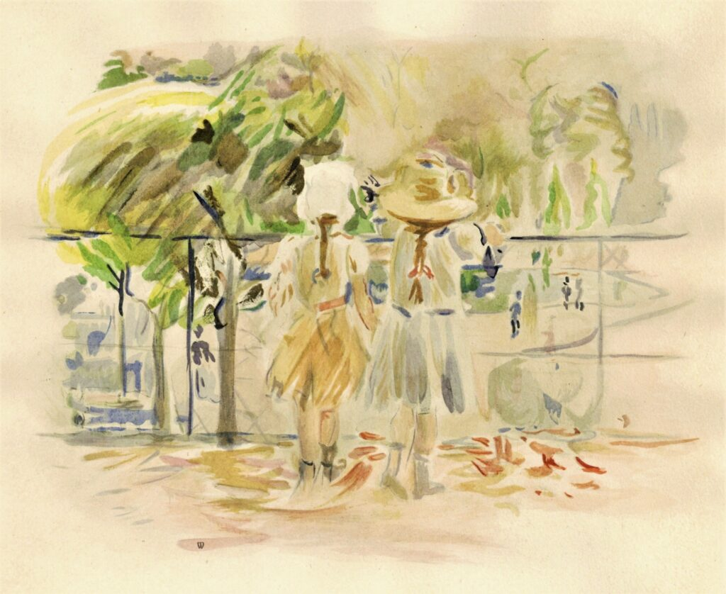 Berthe Morisot, 8IE-1886-93-2, Deux Bébés aux Tuileries =1885, CR726, Au Jardin des Tuileries, wc, 17x22, NCG Copenhagen