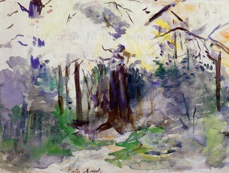 Berthe Morisot, 8IE-1886-93-3, Série d'aquarelles. Maybe(??): 1884, CR706, Autumn in the Bois de Boulogne, wc, 21x29, private