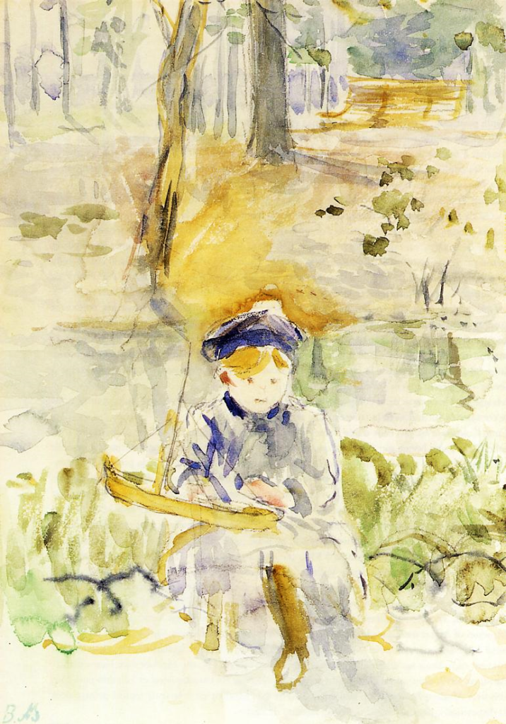 Berthe Morisot, 8IE-1886-93-4, Série d'aquarelles. Maybe(??): 1884, CR707, Julie and Her Boat (Bois de Boulogne), wc, 23x16, private